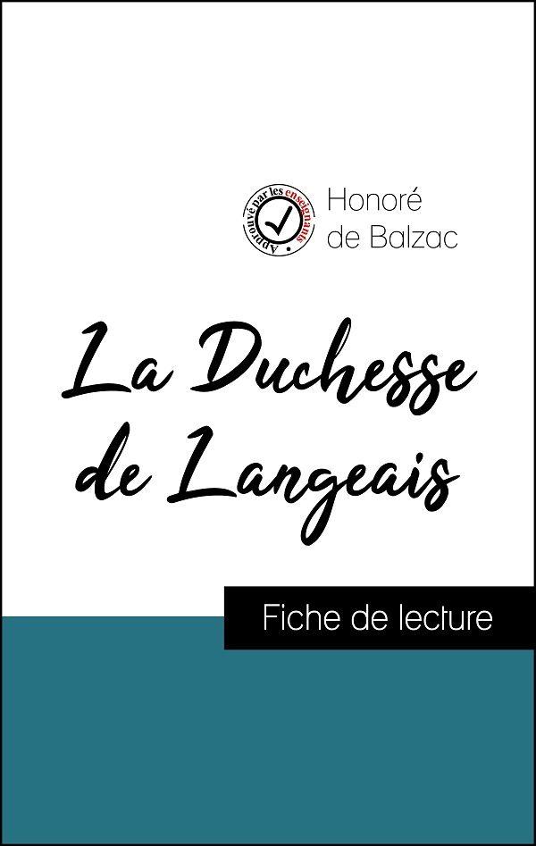 image couverture fiche de lecture la duchesse de langeais de balzac
