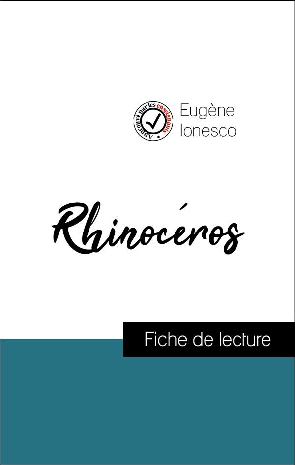 image couverture fiche de lecture rhinocéros de eugène ionesco